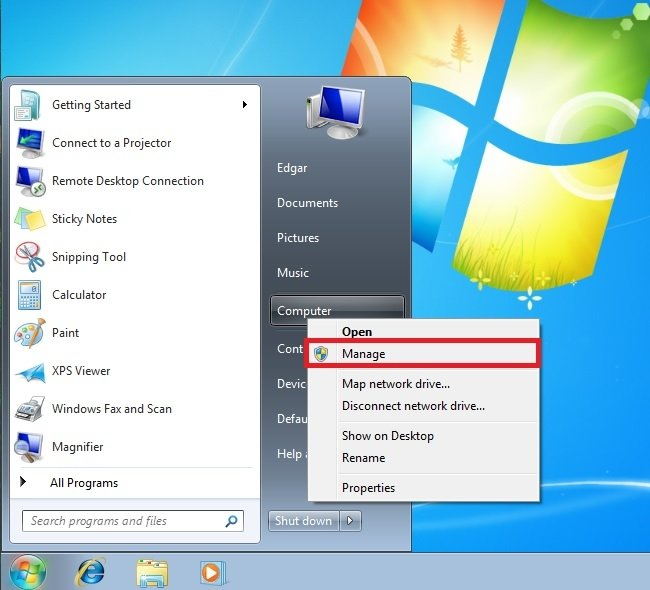 Administrar equipo en Windows 7