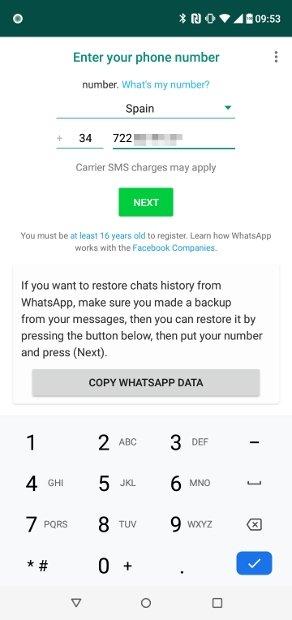 Configuration du premier numéro de téléphone dans WhatsApp Plus