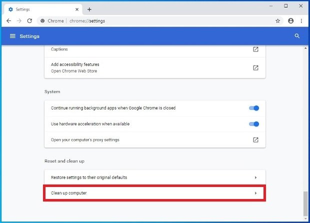 Configuration option to clean your PC running Chrome