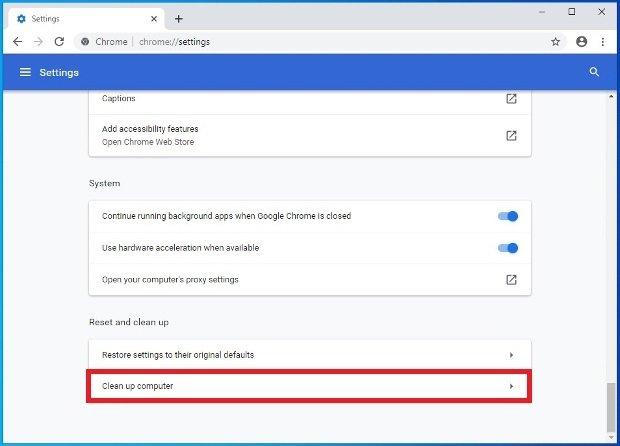 Option de la configuration pour nettoyer le PC avec Chrome
