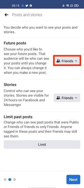 Configurare chi può vedere i tuoi post