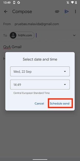 Confirmar envío programado
