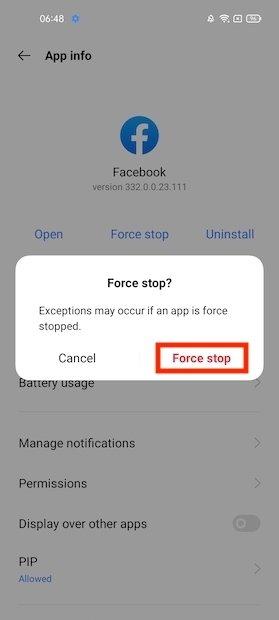 アプリの停止を確認する