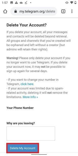 Confirmar borrado de la cuenta de Telegram
