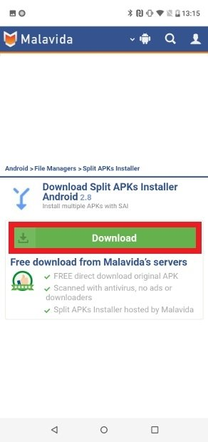 Confirm the download of Split APKs Installer