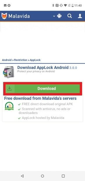 Confirmar o download do APK clicando Download