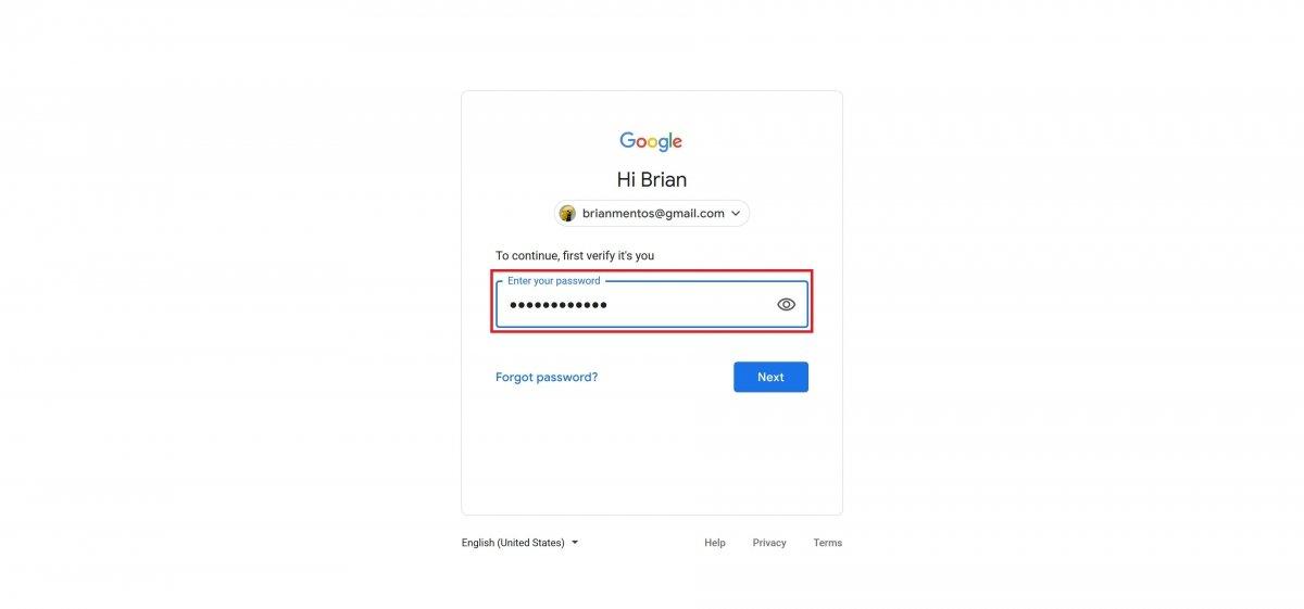 Confirme sua senha da conta do Google usada