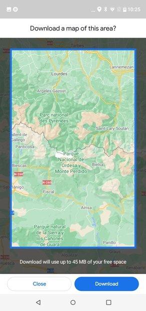 Confirma la región del mapa a descargar