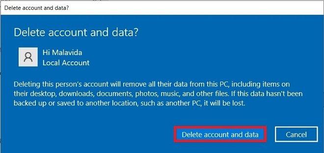 Confirmar el borrado de una cuenta