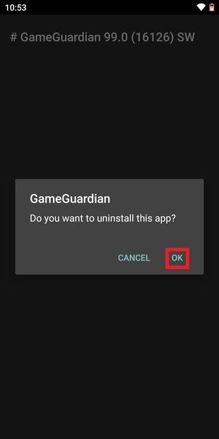 Confirmar desinstalación de la app original