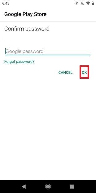Confirmer le mot de passe de Google Play