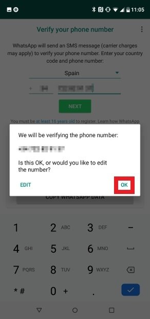 Confirma tu número de teléfono