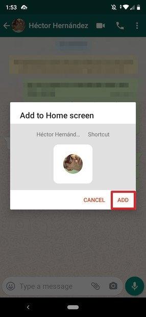 Confirmación para añadir el acceso directo al contacto