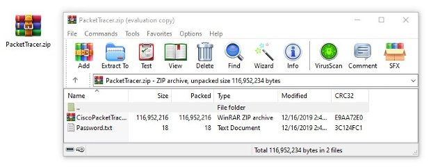 Content of the file with a ZIP and a TXT document
