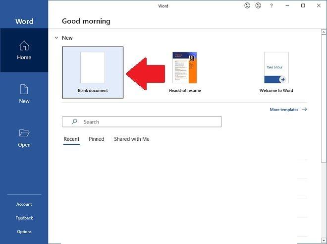Crear un documento en blanco