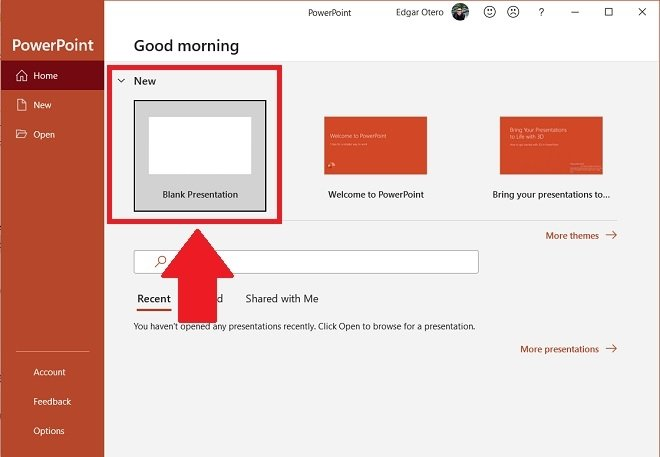 Create a blank presentation