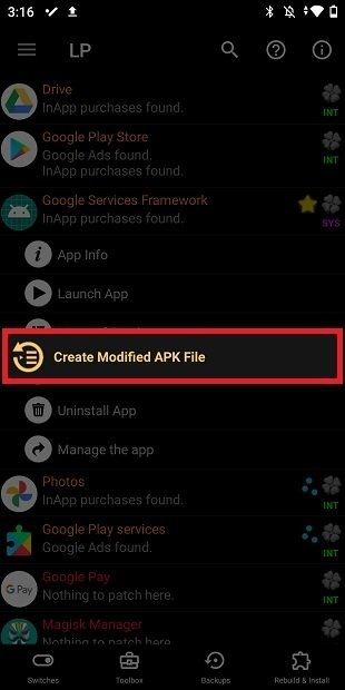 Create a modified APK