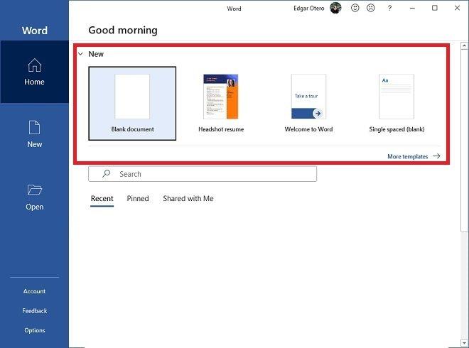Crear un nuevo documento a partir de una plantilla