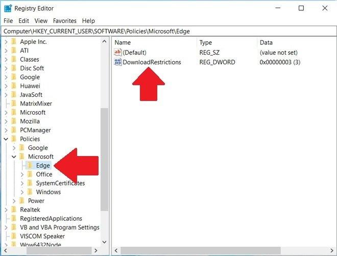 Create a registry for Microsoft Edge