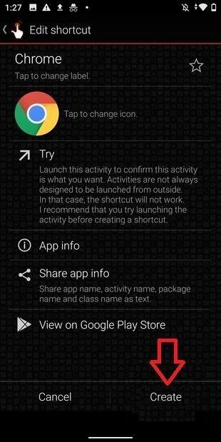 Crear acceso directo con un widget