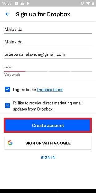 Crear cuenta en Dropbox