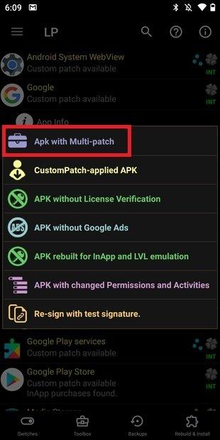 Crear APK con múltiples parches