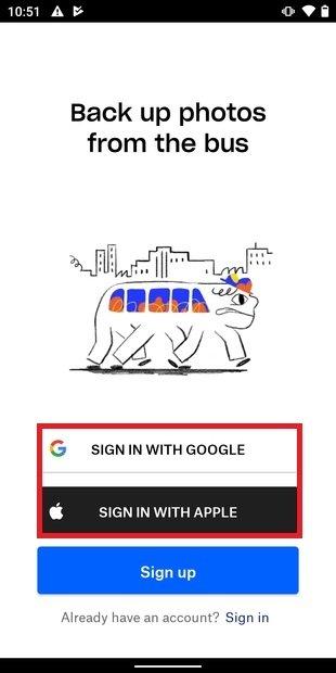 Crear una cuenta en Dropbox con Google o Apple