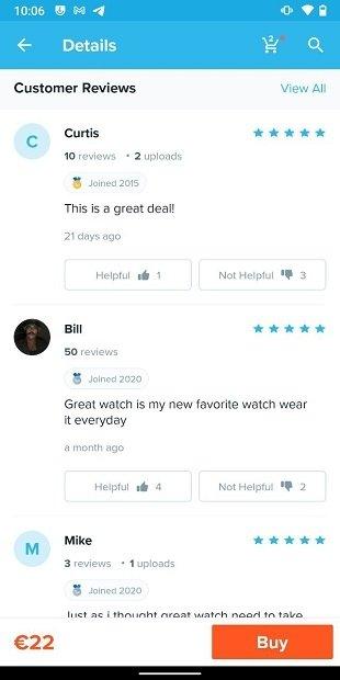Valoraciones de los clientes