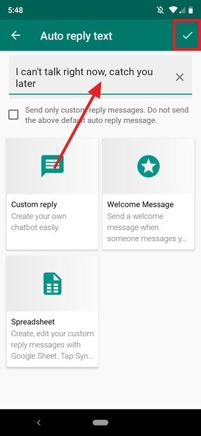 Customized automatic message created