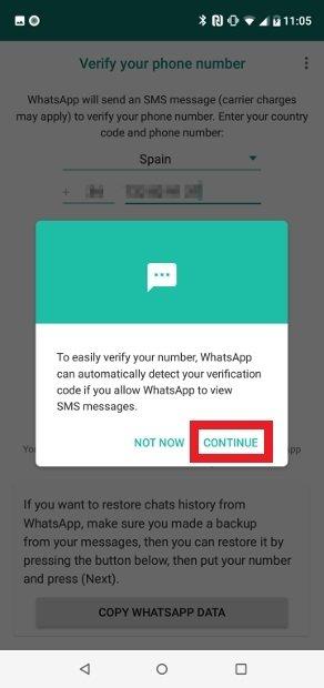 Décidez si Android peut lire le texto de confirmation