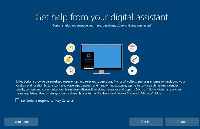 Decide whether you want to use Cortana's functions