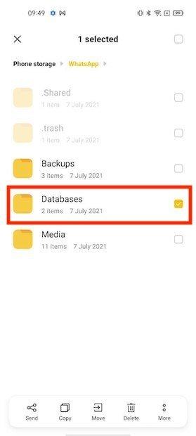 Eliminare la cartella del database