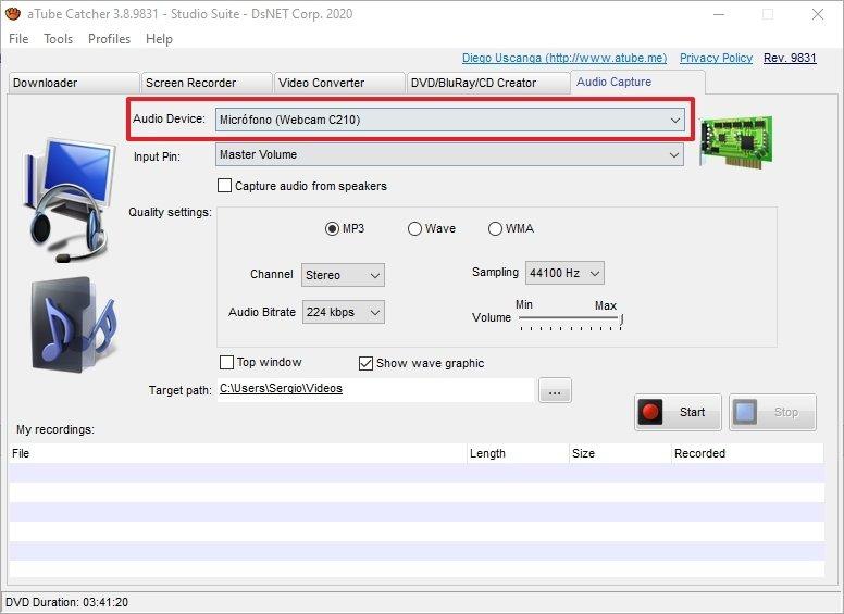 Dispositivo con el que se realiza la captación de audio