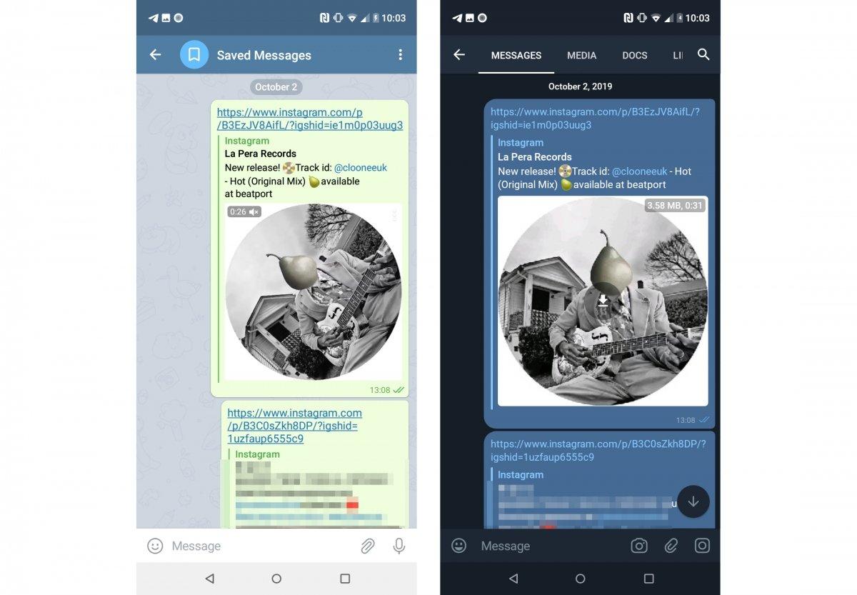 Diferencias en el chat de mensajes guardados