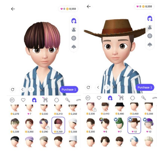 Different options for your avatar