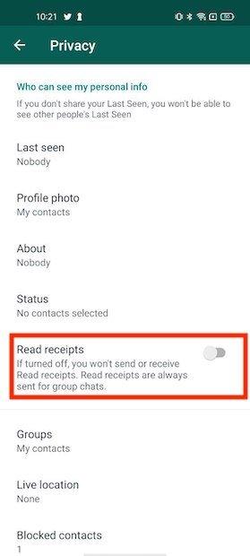 Desactivar confirmación de lectura