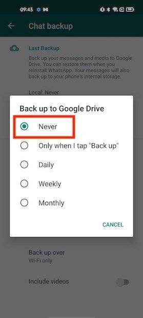 Disattivare il backup in Drive