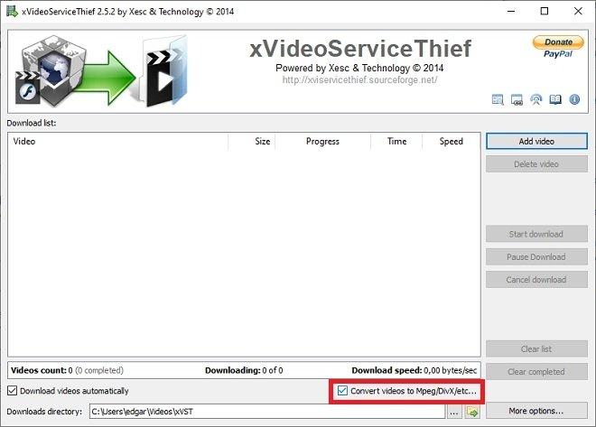 Desactivar la conversión del vídeo
