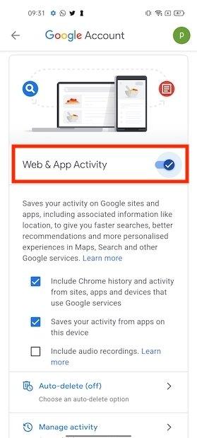Disattivare attività web