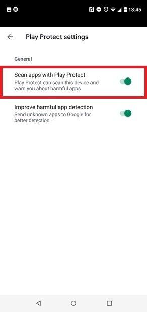 Désactivation de Google Play Protect