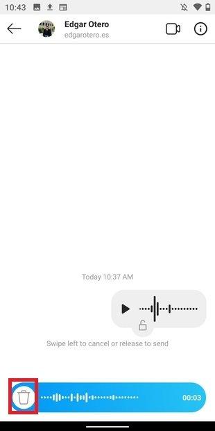 Descartar nota de voz
