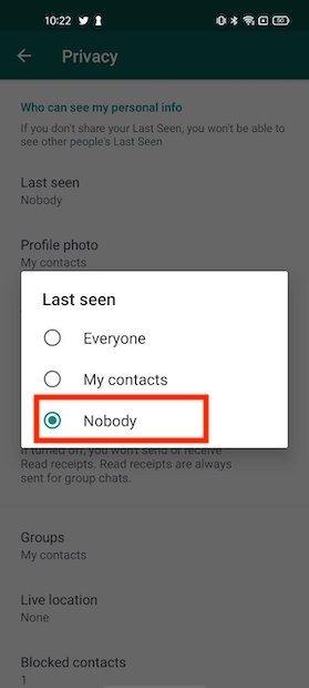 No mostrar última conexión a nadie