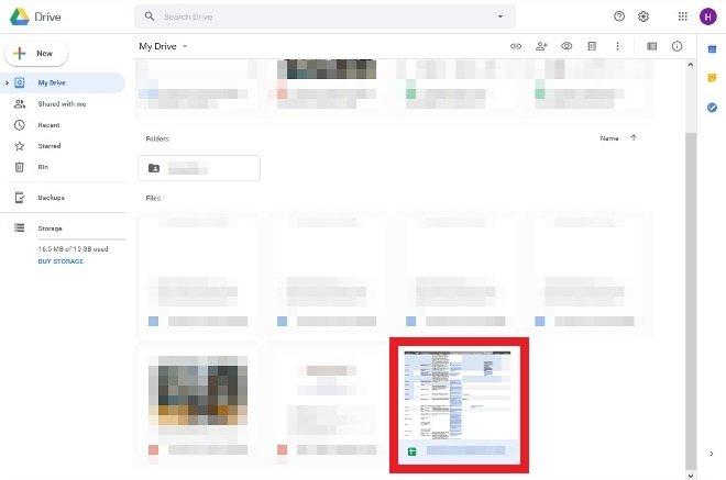 Doble clic sobre el archivo de Excel en Drive