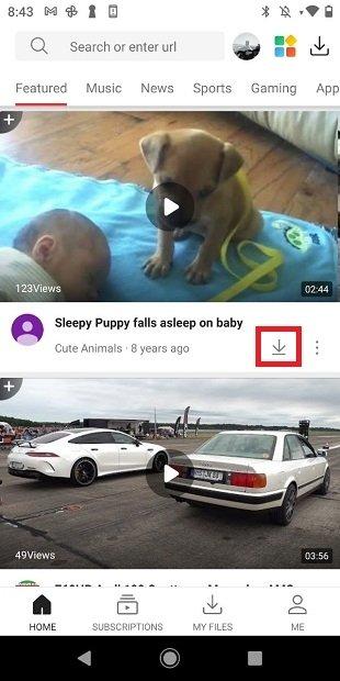 Descargar un vídeo desde la página de inicio
