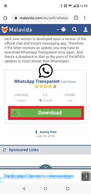 WhatsApp Transparent MODダウンロードボタン