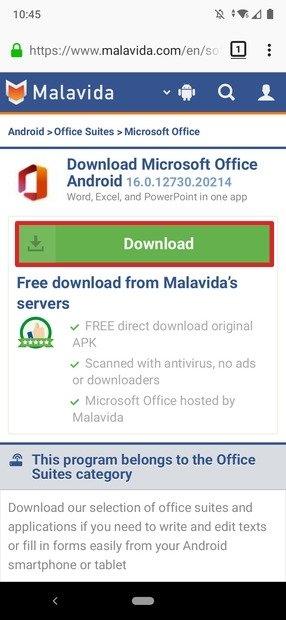 Download do Office em Malavida