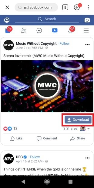 Download the video from Facebook