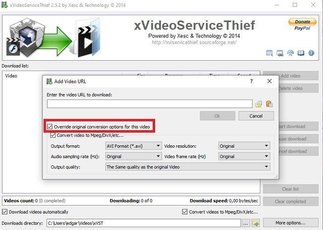Descargar vídeo con ajustes personalizados