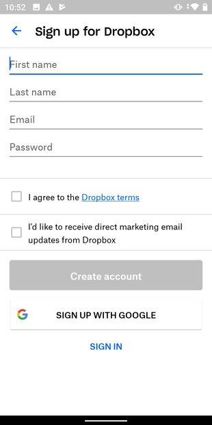 Formulario de registro en Dropbox