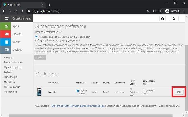Modificare il nome del dispositivo in Google Play da un PC